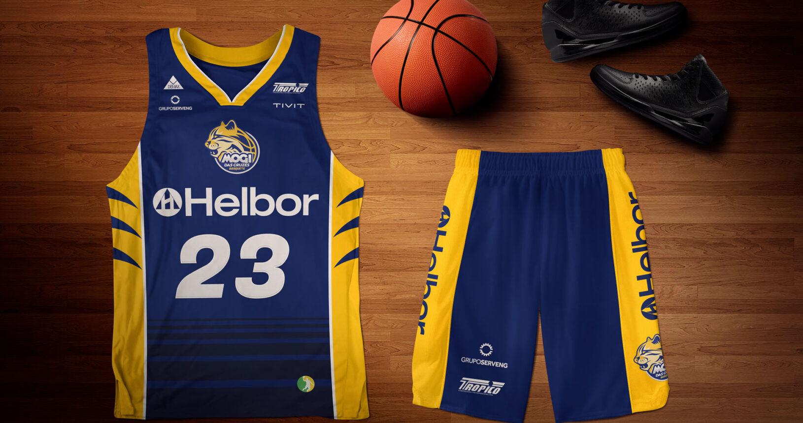 mogi cruzes basquete uniforme azul