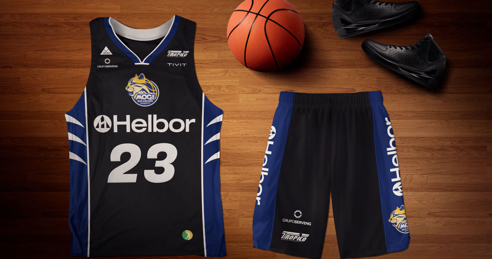 mogi cruzes basquete uniforme preto